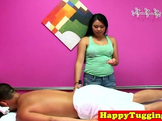 Adorable asian masseuse unsporting clients cock