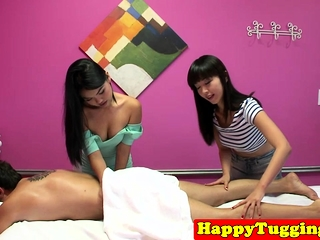 Young asian masseuses jerking patrons weasel words