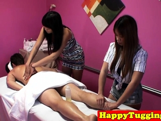 Smalltit asian masseuses tugging their client