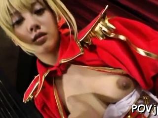 Luscious asian blonde girl gets crotch beaten