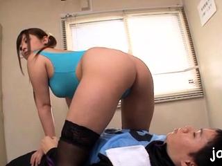Cute nipponese damsel Daiya Nagare gets bosom licked