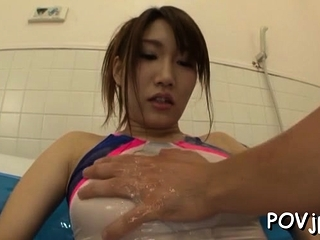 Sweet Mikuni Maisaki with first-rate tits is not wearing panties