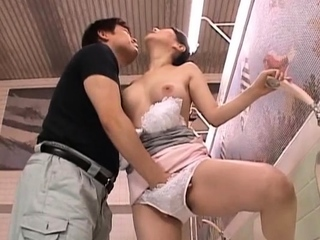 Stunning older japanese nurse gets her large scoops felt in the air