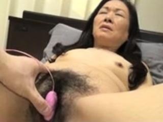 Bound Japanese hairy pussy toying