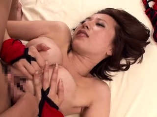 Tiny busty Japanese wife titjob
