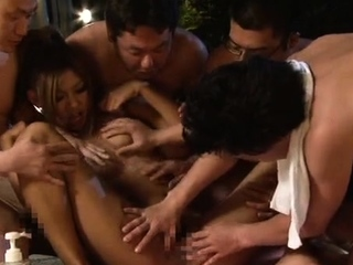 Japanese AV Models apropos outdoor contrive fuck session