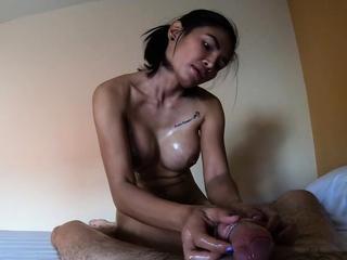 Fat gut Asian massage clients big dick